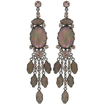 Image For Earring Stud Dangling Dangerous Liaisons Brown Pink